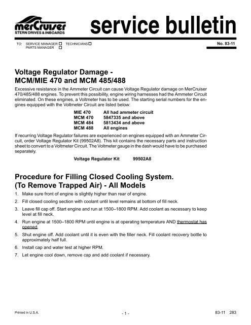 service bulletin Voltage Regulator Damage - MCM