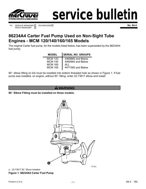 service bulletin 86234A4 Carter Fuel Pump Used on