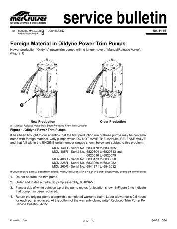 service bulletin foreign material in oildyne power     - boatfix com