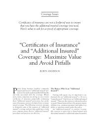 """Certificates of Insurance"" and ""Additional Insured"" Coverage ..."