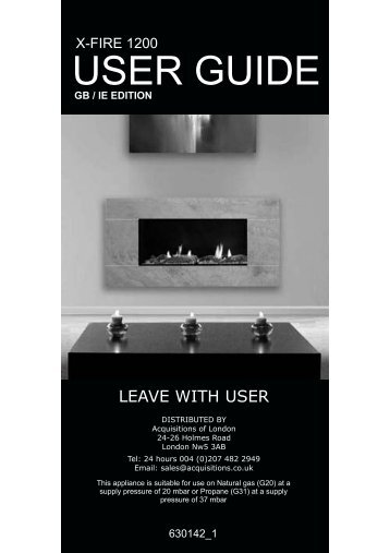 to view the user manual - Acquisitions Fireplaces