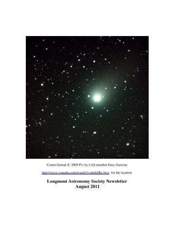 Longmont Astronomy Society Newsletter August 2011