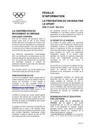 La prévention du VIH/SIDA par le sport - International Olympic ...