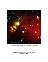 Feb newsletter 2010 - Longmont Astronomical Society