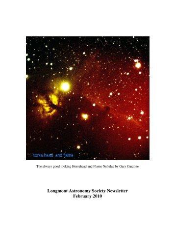 Feb newsletter 2010 - Longmont Astronomical Society