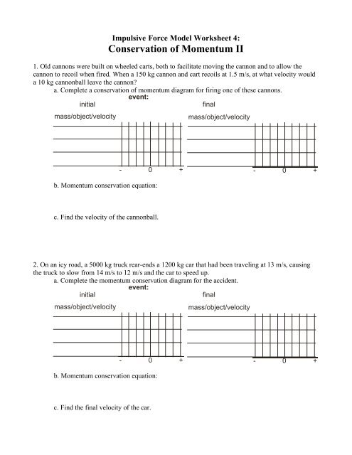worksheet 4 conservation of momentum ii modeling physics