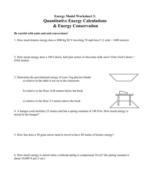 Energy Model Worksheet 3 - Modeling Physics