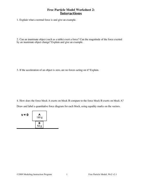 Worksheet 2 Modeling Physics