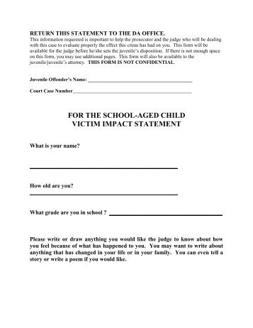 Victim Impact Statement   Minor Victim