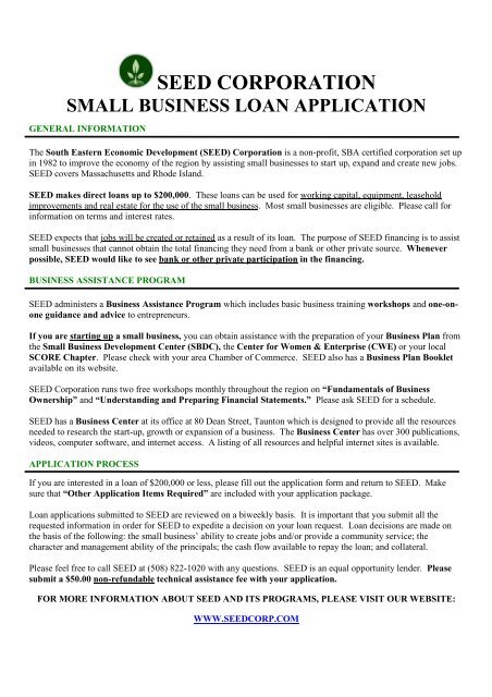 SMALL BUSINESS LOAN APPLICATION - SEED Corp