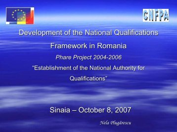 Development of the national qualifications framework (NQF) - ERI SEE