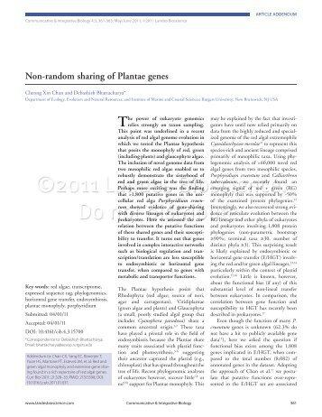 Non-random sharing of Plantae genes - Debashish Bhattacharya ...