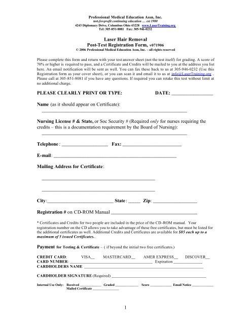 1 Laser Hair Removal Post-Test Registration Form     - Laser