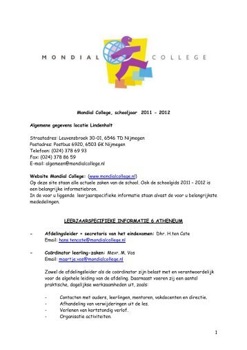 1 Mondial College, schooljaar 2011 - 2012 Algemene gegevens ...