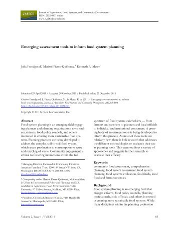 Emerging assessment tools to inform food system planning