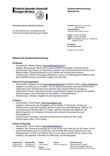Referate des Sprecherrates - Stuve Uni Erlangen-Nürnberg