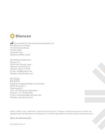 Handboek specialisten - Bioness Inc.