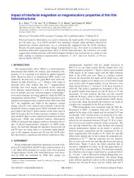 Impact of interfacial magnetism on magnetocaloric properties of thin ...