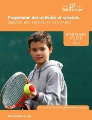 Programme des activités et services : Service des loisirs et des parcs