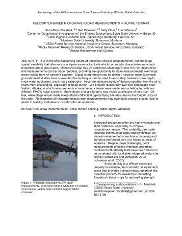 helicopter-based microwave radar measurements in alpine terrain