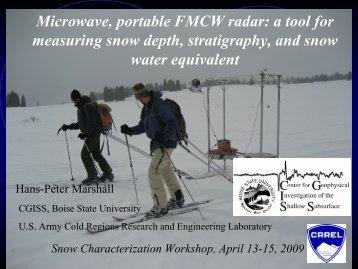 Microwave, portable FMCW radar - CGISS - Boise State University