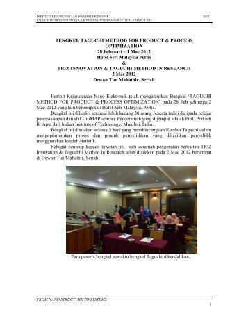 Taguchi Method Course & TRIZ Innovation Report
