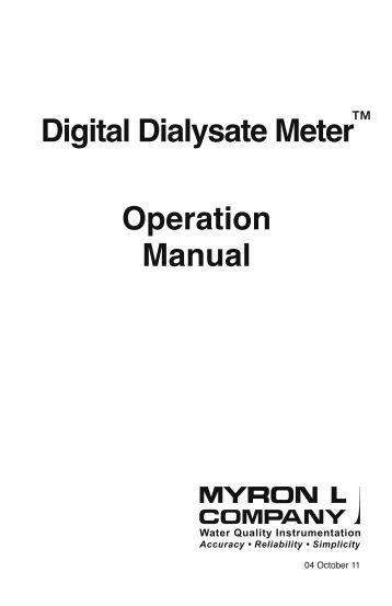 Dialysate Conductivity Meters : Resistivity manual myron l company