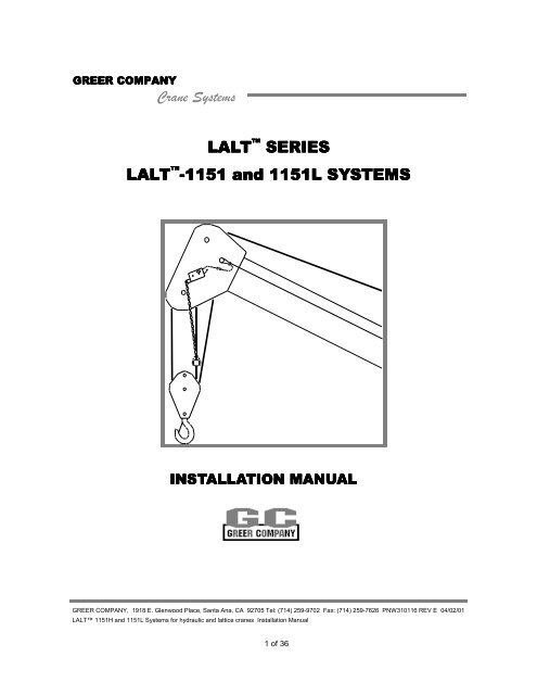 [SCHEMATICS_48DE]  Model LALT 1151 Installation Manual - TWG | 1151 Superwinch Solenoid Wiring Diagram |  | Yumpu