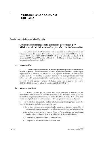 Observaciones Finales _Comite Desaparicion Forzada _MX2015