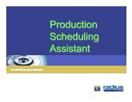 Production Scheduling Assistant - Andrew Shelley, Radius Solutions