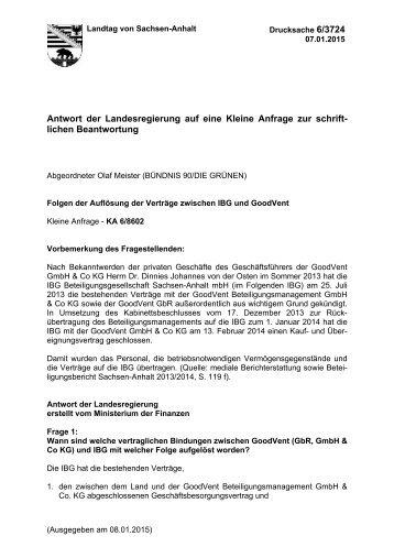 63724 Kleine Anfrage Folgen Der Auflösung Der Verträge Zwischen Ibg