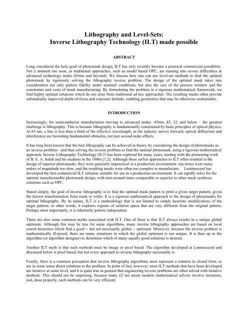 white paper (pdf)  - Luminescent Technologies