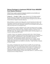 Deluxe Packages to Implement PECAS Vision MIS/ERP from Radius ...