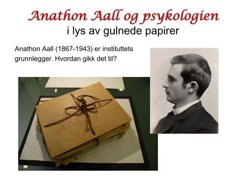 Anathon Aall og psykologien