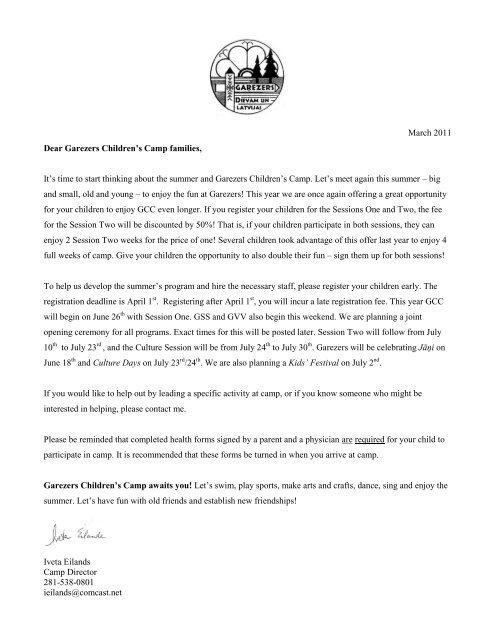March 2011 Dear Garezers Children's Camp families, It's time to ...