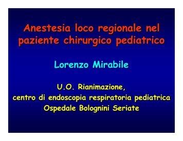 Anestesia loco regionale nel paziente chirurgico pediatrico