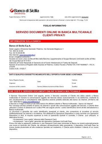 SERVIZIO DOCUMENTI ONLINE IN BANCA MULTICANALE ...
