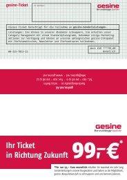 Ihr Ticket in Richtung Zukunft * - Gesine.net