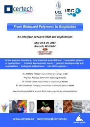 From Biobased Polymers to Bioplastics www.certech.be