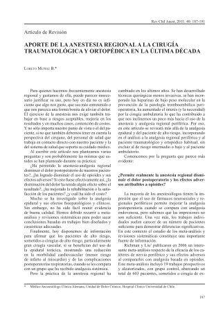 Aporte de la Anestesia Regional a la Cirugía Traumatológica y ...