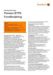 Pension BTPK Fondförsäkring - Sparbanken i Karlshamn