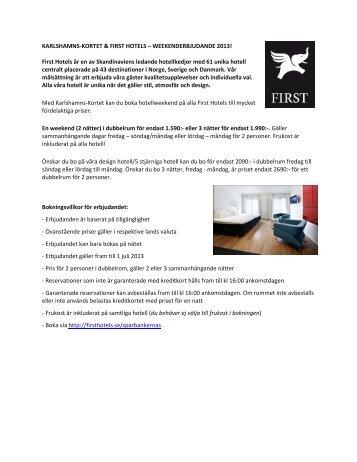 KARLSHAMNS-KORTET & FIRST HOTELS - Sparbanken i Karlshamn