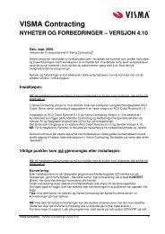 VISMA Contracting NYHETER OG FORBEDRINGER – VERSJON 4.10