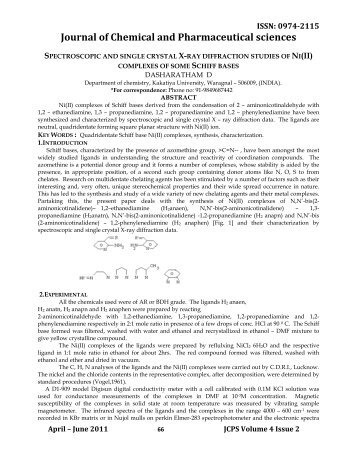 Article 5 SPECTROSCOPIC AND SINGLE CRYSTAL X-RAY ... - jchps