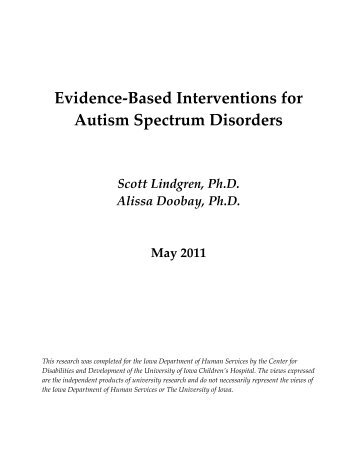 Evidence-Based Interventions for Autism Spectrum Disorders
