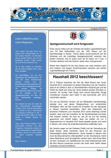 Ausgabe 4 - Fussballabteilung TSG Dissen