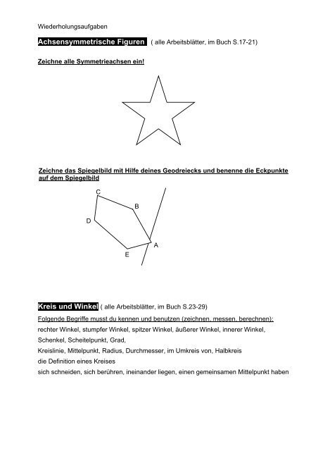 Wiederholungsblatt Spiegelungen Winkel Kreis