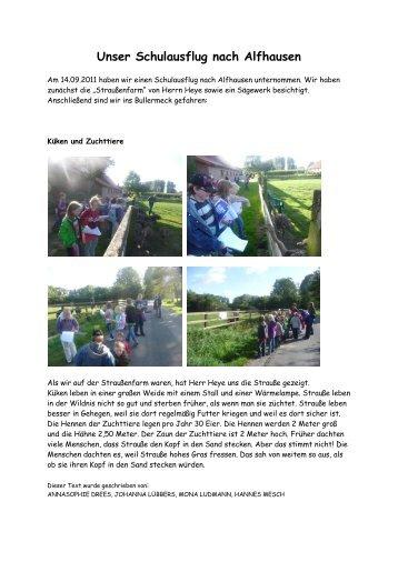 Unser Schulausflug nach Alfhausen - der Grundschule Bunnen