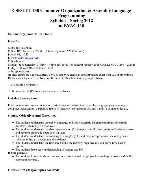 CSE/EEE 230 Computer Organization & Assembly Language
