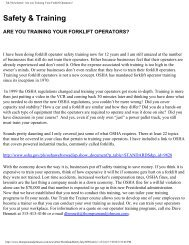 T&J Newsletter- Are you Training Your Forklift Operators?